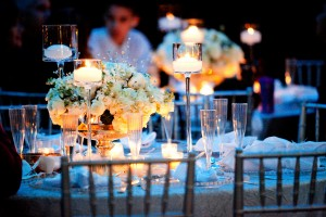 White-Rose-and-Candle-Centerpiece