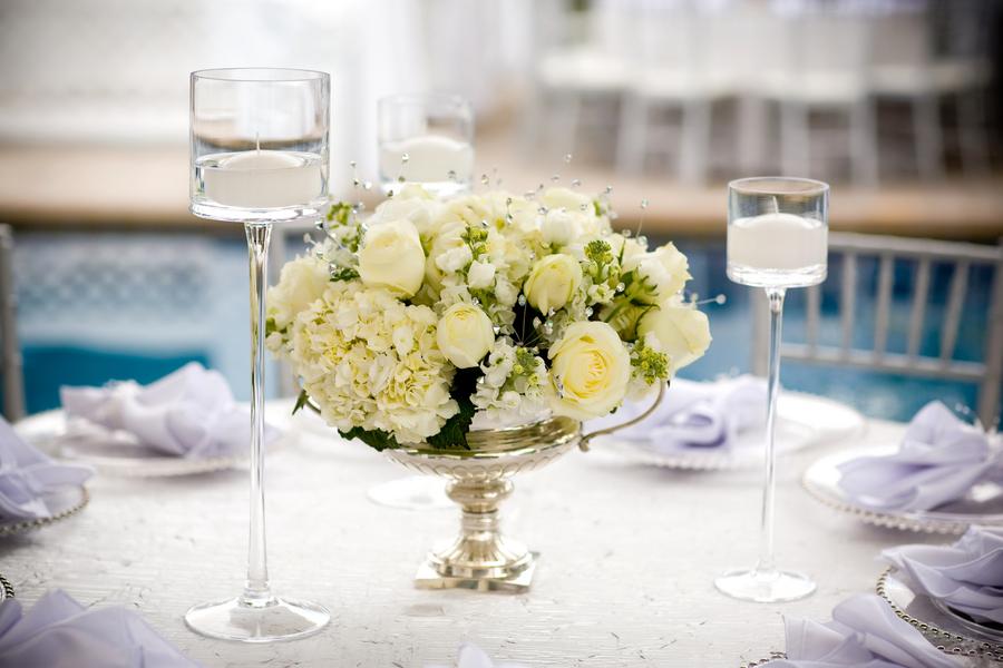 White rose and hydrangea centerpiece elizabeth anne