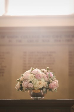 White-and-Pink-Roses-in-Silver-Urn-Centerpiece