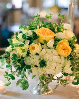 Yellow-Rose-and-Ivy-Centerpiece