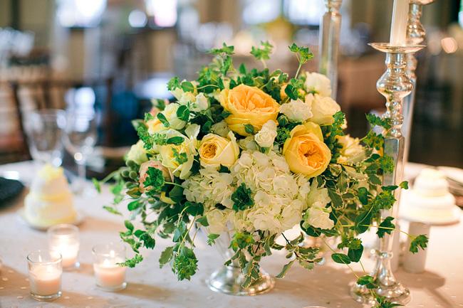 Yellow rose and ivy centerpiece elizabeth anne designs