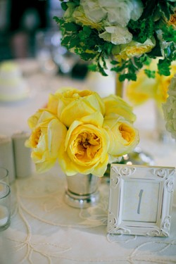 Yellow-Rose-and-Silver-Mini-Vase-Centerpiece