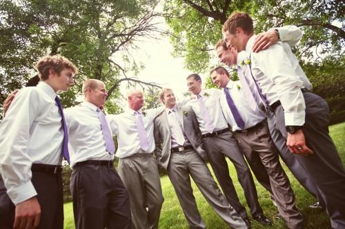 groomsmen in purple ties