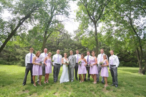 purple and lavender bridal party