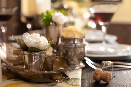 Antique-Silver-Serving-Dishes-Wedding-Centerpiece