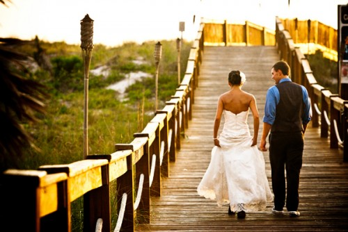 Bride-and-Groom-on-Beach-Pier