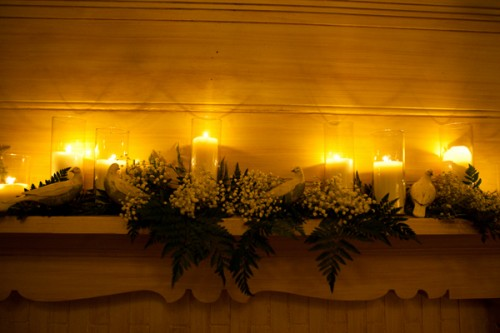 Candle-and-Babys-Breath-Mantle-Decor