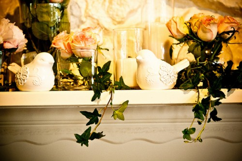 Elegant-Peach-Rose-Mantel-Decor