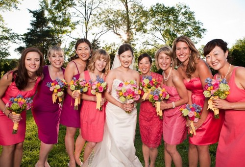 Non-Matching-Hot-Pink-Bridesmaids