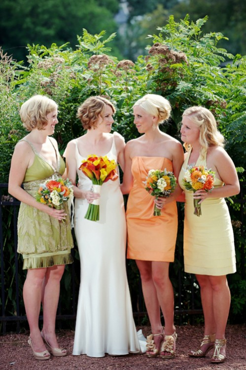 Orange-Yellow-and-Green-Bridesmaids