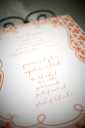 Orange Calligraphy Menu