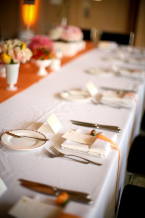 Orange and White Wedding Reception