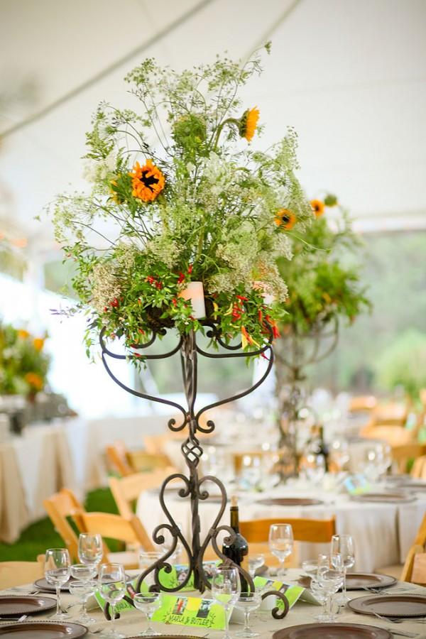 Sunflower centerpiece candelabra elizabeth anne designs