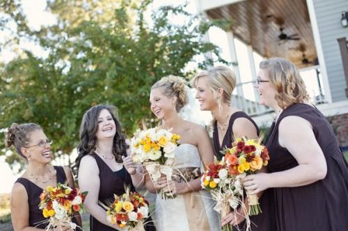 Brown-Bridesmaids-Dresses-Fall-Wedding