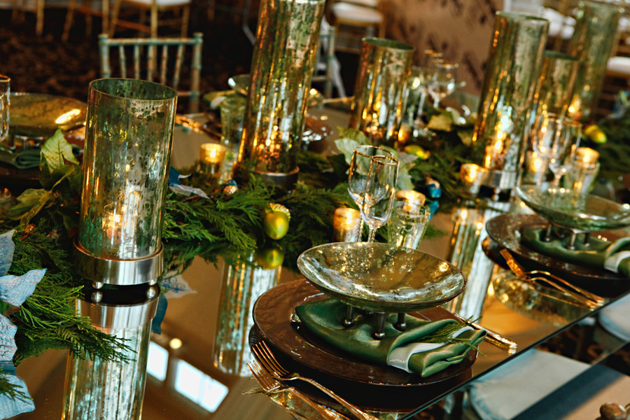 Gold And Aqua Table Mirror Centerpiece Elizabeth Anne Designs The