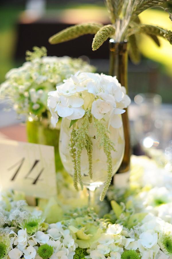 White and green hydrangea centerpiece elizabeth anne