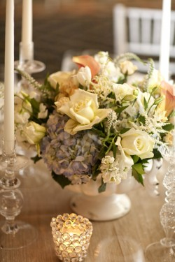 Peach-and-Yellow-Rose-Centerpiece