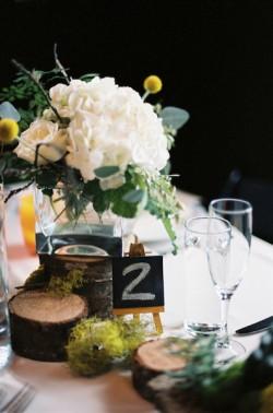 White-Hydrangea-Centerpiece-Chalkboard-Table-Number