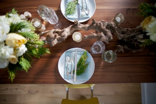 Wood-and-Evergreen-Centerpieces