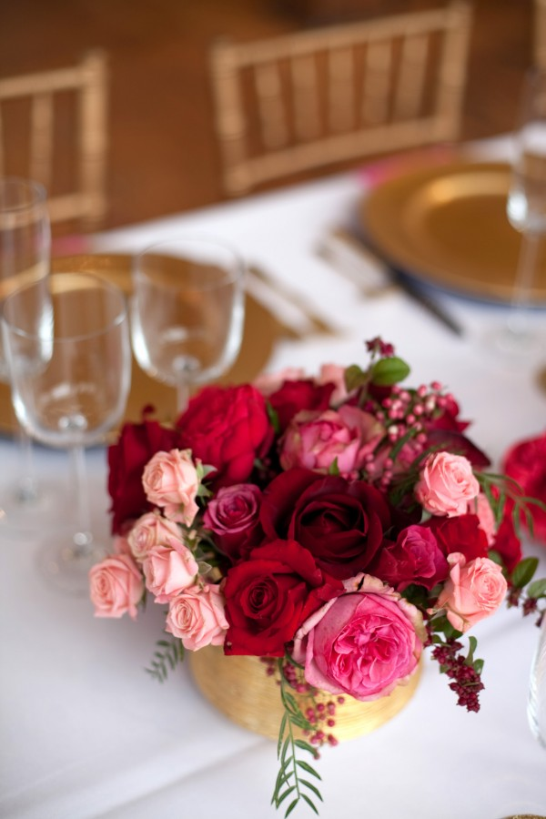 Pink Red Gold Wedding Table Ideas 18