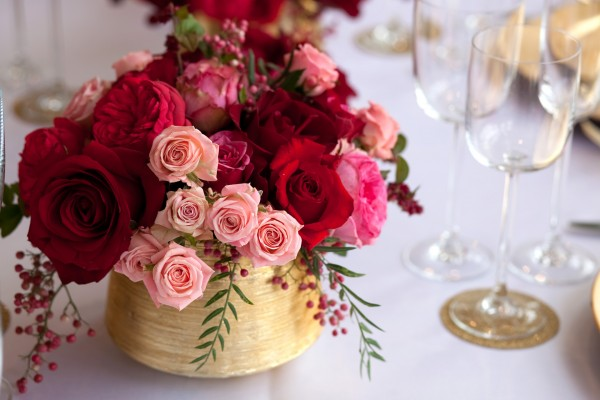 Pink Red Gold Wedding Table Ideas 28