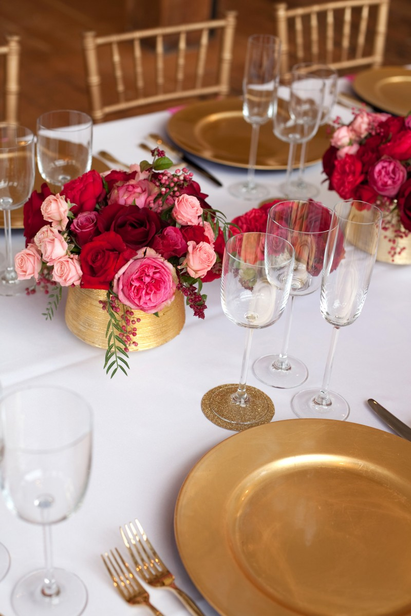 Pink Red Gold Wedding Table Ideas 30 Elizabeth Anne