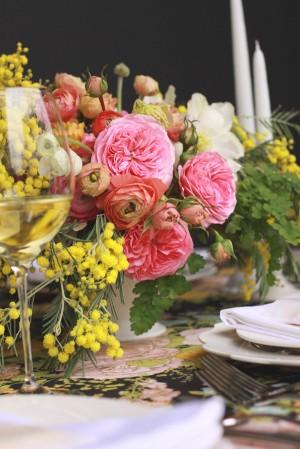 Pink-Yellow-Black-Elegant-Wedding-Centerpiece-6