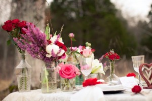 Pink-and-Red-Flowers-in-Jars
