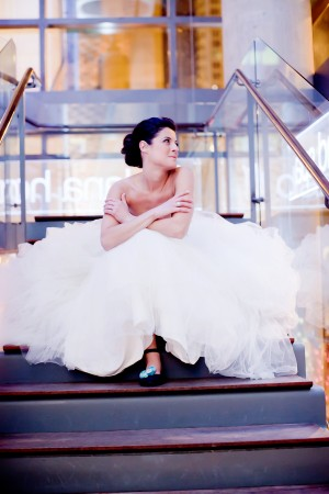Bride-Sitting-on-Stairs