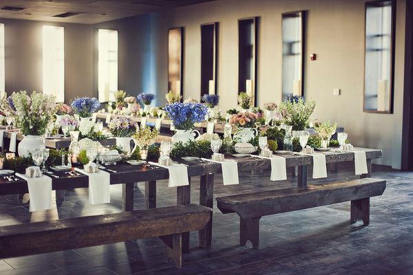 Farmhouse Table Wedding Reception Centerpiece Ideas