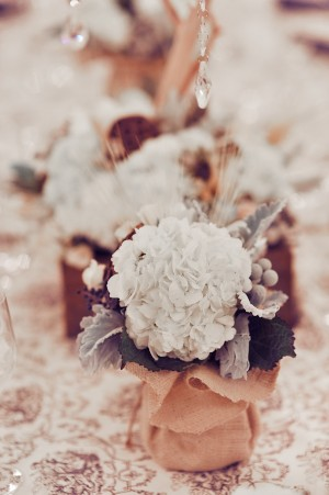 Hydrangea-Dusty-Miller-White-Brown-Elegant-Centerpiece
