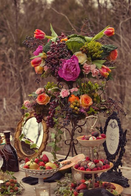 Purple-Green-Grapes-Flowers-Centerpiece - Elizabeth Anne