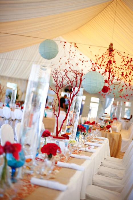 Whimsical Aqua Red Wedding Reception 1 Elizabeth Anne Designs The