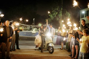 Bride-and-Groom-on-Scooter