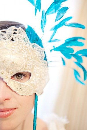 Lace-and-Feather-Mask