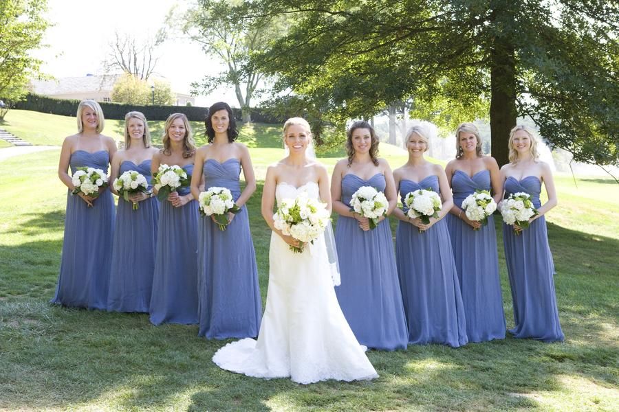 Blue Jenny Yoo Chiffon Dresses