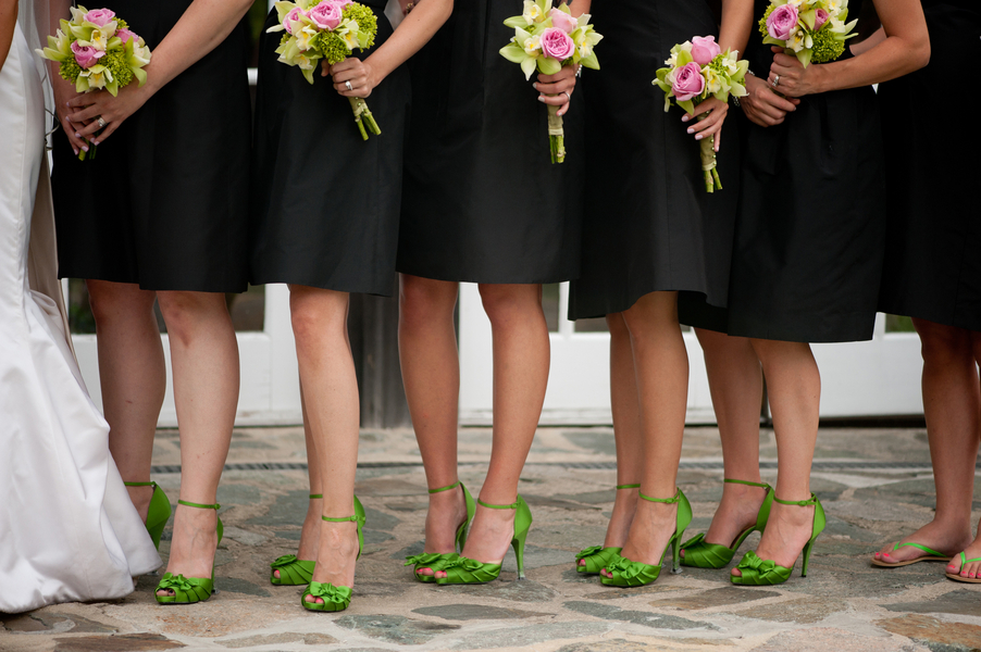 black bridesmaids dresses green shoes elizabeth