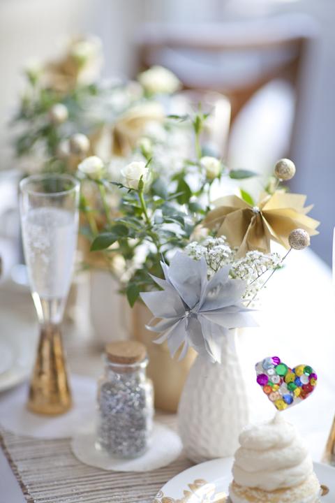 Green and gold sparkly wedding centerpiece elizabeth