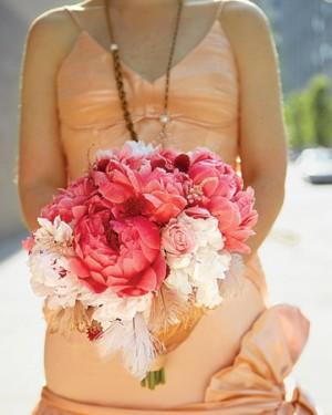 Sherbet-Peach-Bridesmaids-Hot-Pink-Bouquet