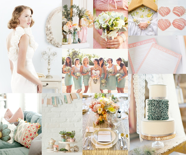 Pink Yellow And Teal Wedding Colors