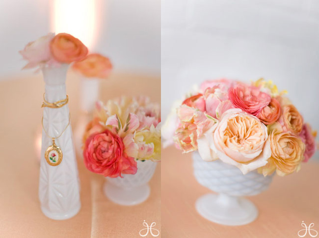 Soft Pink and Peach Wedding Flowers
