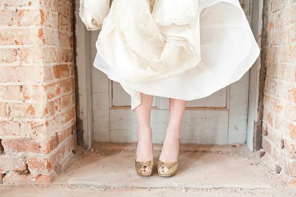 Bride In Gold Glitter Heels