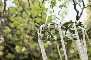 olive branch and ribbon chandelier