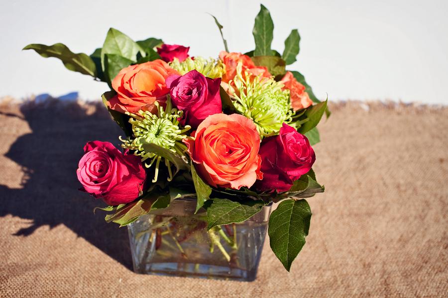 Orange Pink Green Rose Centerpiece