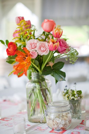 Pink-Orange-Spray-Rose-Centerpiece