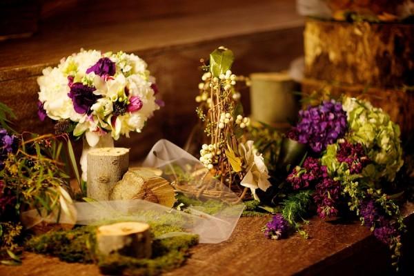 Green-Purple-White-Rustic-Wedding-Table-Decor