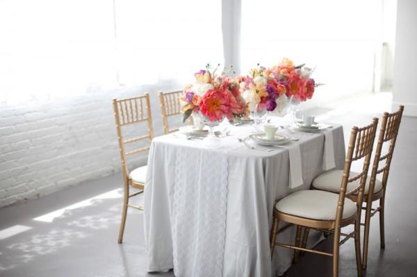 Melon Purple Pink Gray Wedding Table
