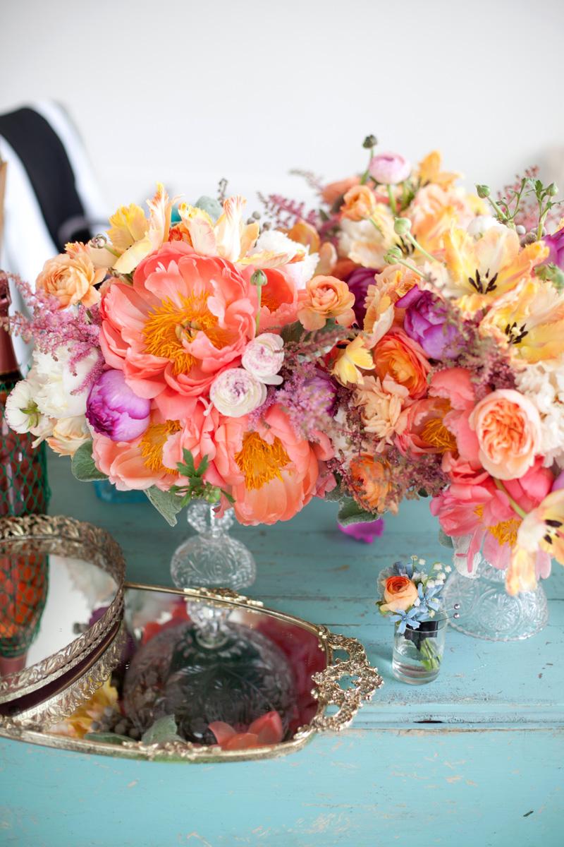 Peach Coral Pink Yellow Wedding Flowers Elizabeth Anne