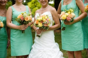 Pink-Yellow-Bouquets-Mint-Green-Bridesmaids