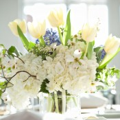White-Tulip-and-Hydrangea-Centerpiece